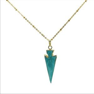 Long 18kgp Chain with Turquoise & Howlite Pendant